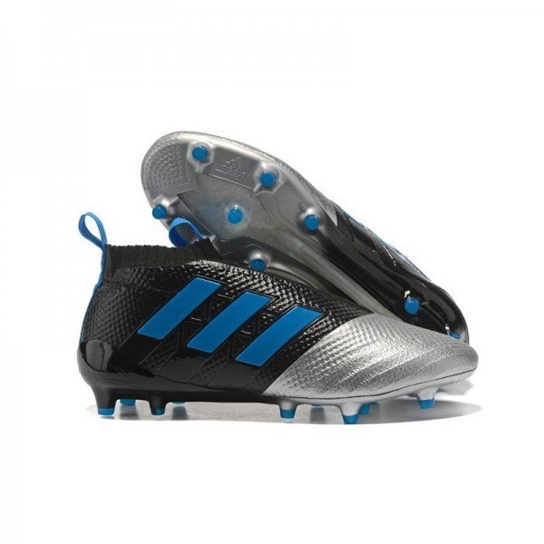 Men's Adidas ACE 17+ Purecontrol FG Soccer Cleats Black Silver Blue