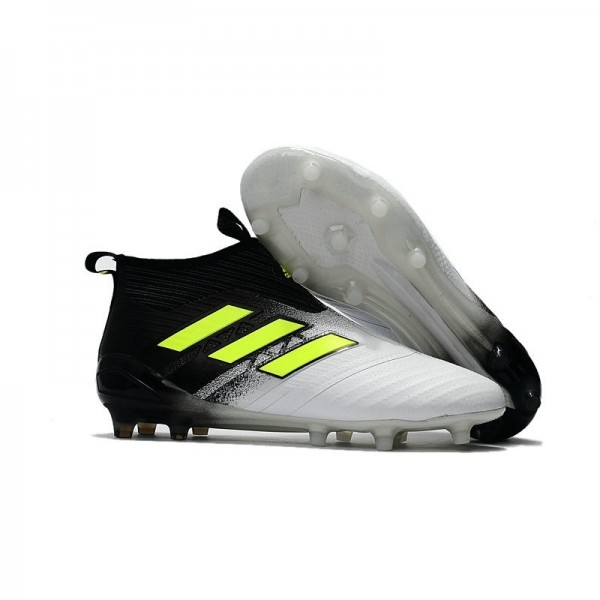 Men's Adidas ACE 17+ Purecontrol FG Soccer Cleats Black White Yellow