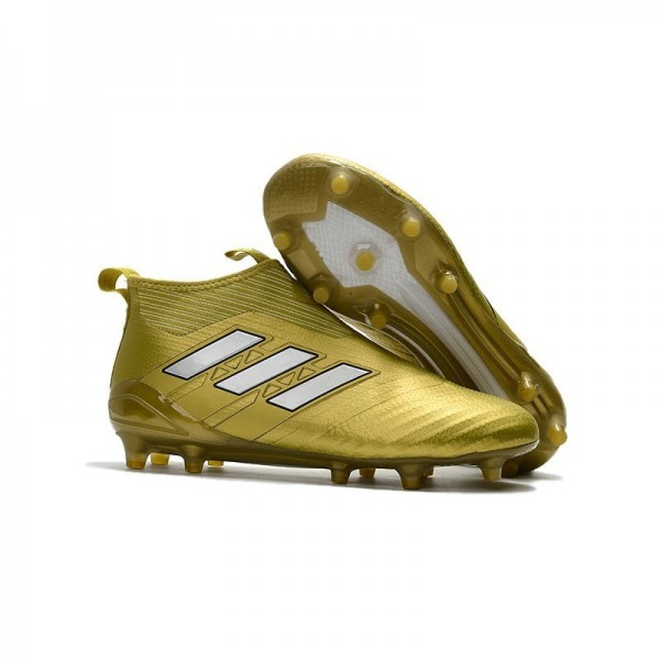 Men's Adidas ACE 17+ Purecontrol FG Soccer Cleats Gold White