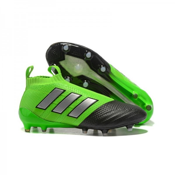 Men's Adidas ACE 17+ Purecontrol FG Soccer Cleats Green Black Silver