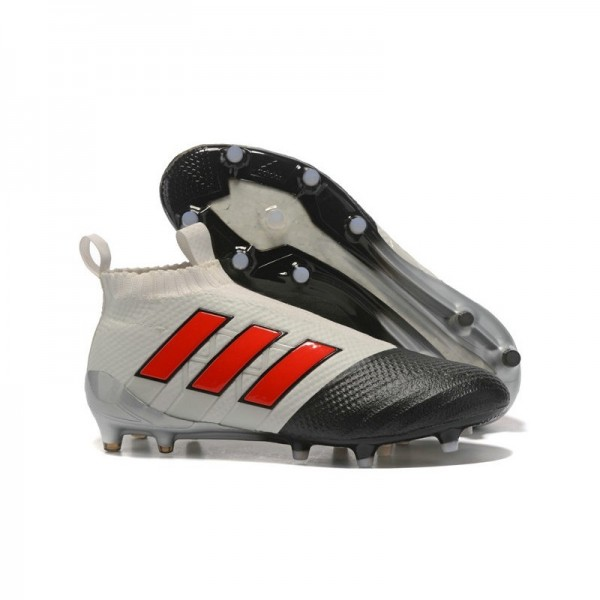 Men's Adidas ACE 17+ Purecontrol FG Soccer Cleats Grey Black Red
