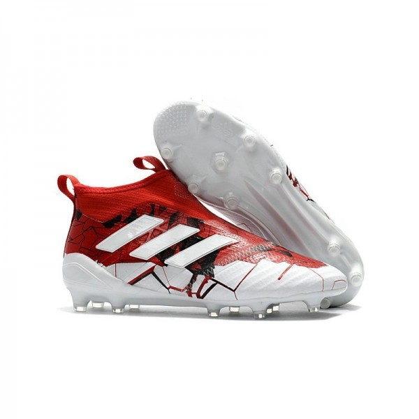 Men's Adidas ACE 17+ Purecontrol FG Soccer Cleats Red White