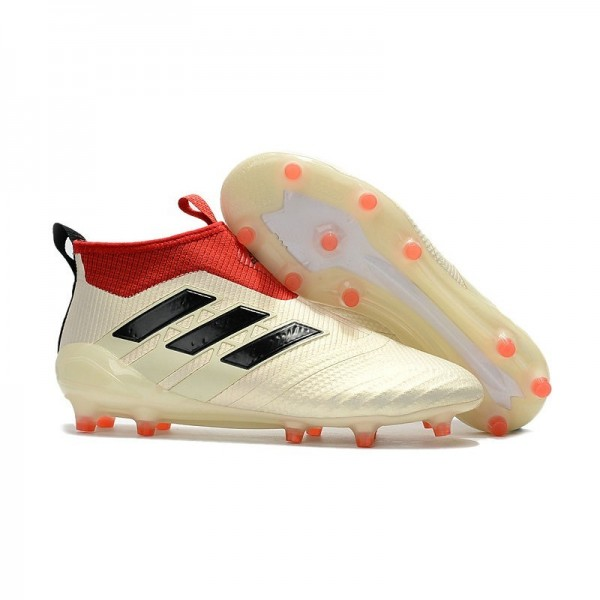 Men's Adidas ACE 17+ Purecontrol FG Soccer Cleats White Red Black