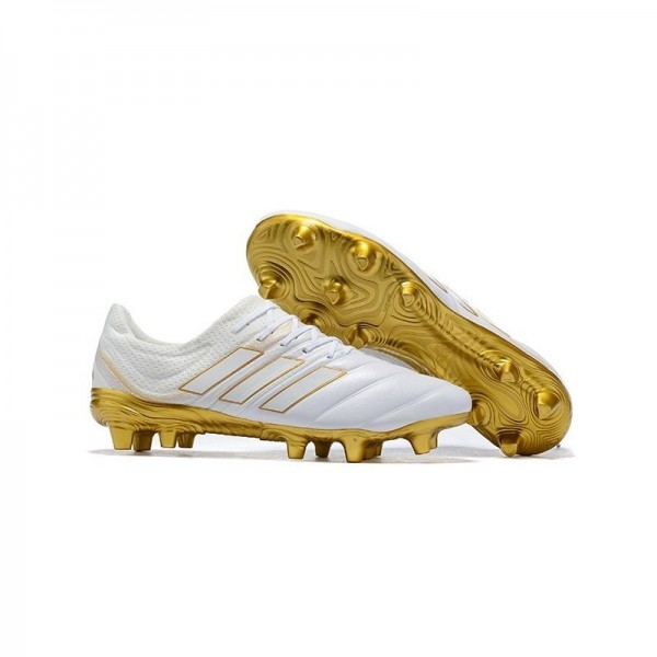 Men's Adidas Copa 19.1 FG Soccer Shoes In White Gold