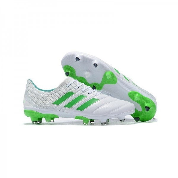 Men's Adidas Copa 19.1 FG Soccer Shoes In White Green