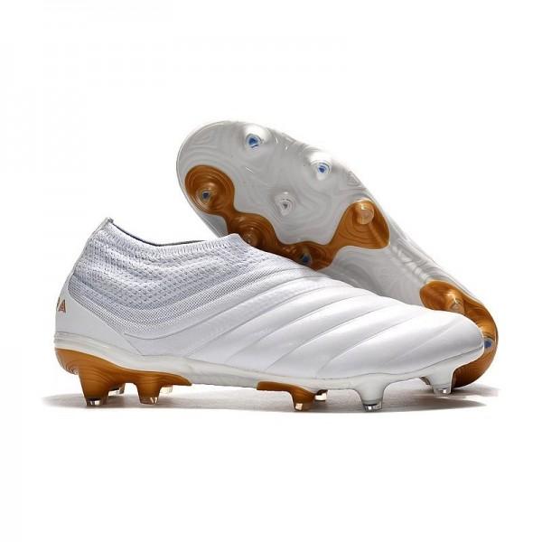 Men's Adidas Copa 19+ FG Soccer Shoes In White Golden
