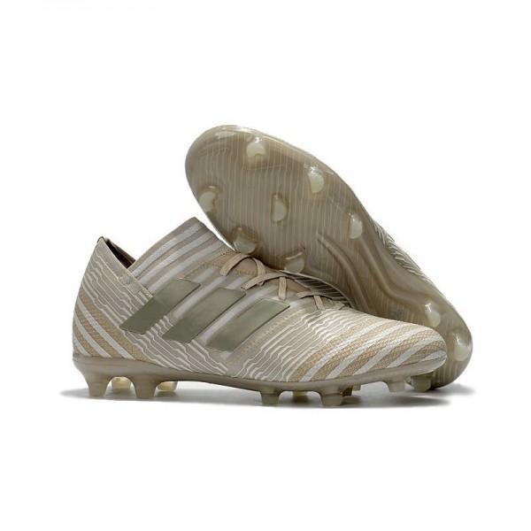 Men's Adidas Nemeziz Messi 17.1 FG Soccer Boots White Gold