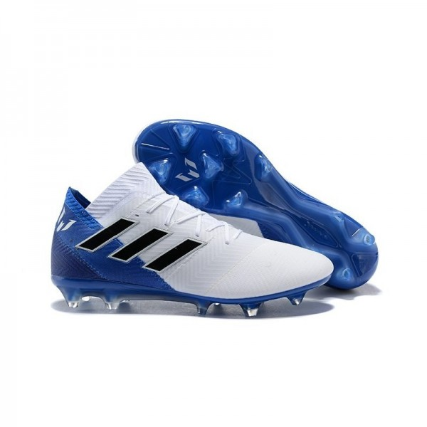 World Cup Men's Adidas Nemeziz 18.1 Messi FG Soccer Cleats White Blue