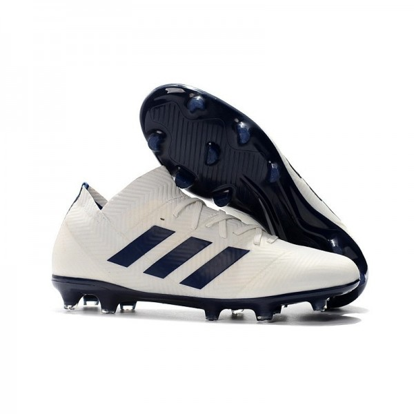 Men's Adidas Nemeziz 18.1 Messi FG Firm Ground Boots White Black