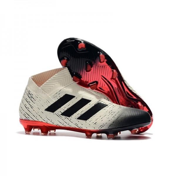 Men's Adidas Nemeziz 18+ FG Mens Boots White Black Red