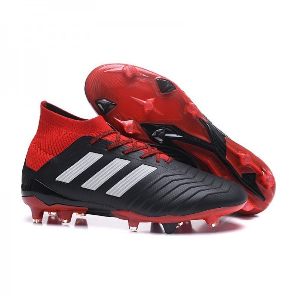 Men's Adidas Predator 18.1 FG Football Boots Black White Red