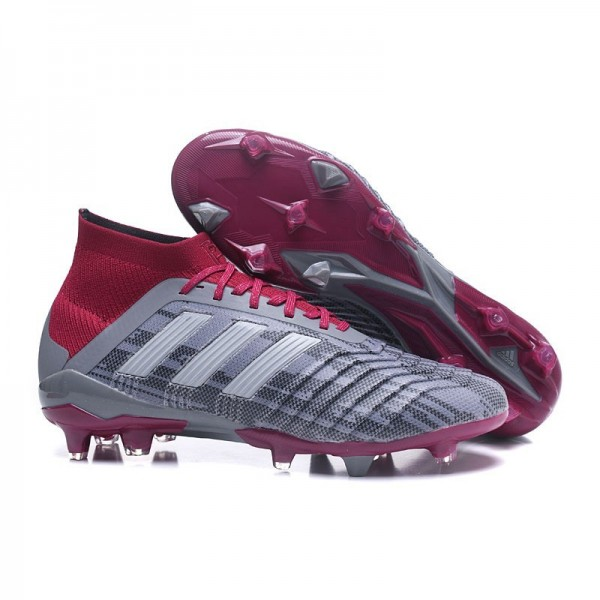 Men's Adidas Predator 18.1 FG Football Boots Grey Red