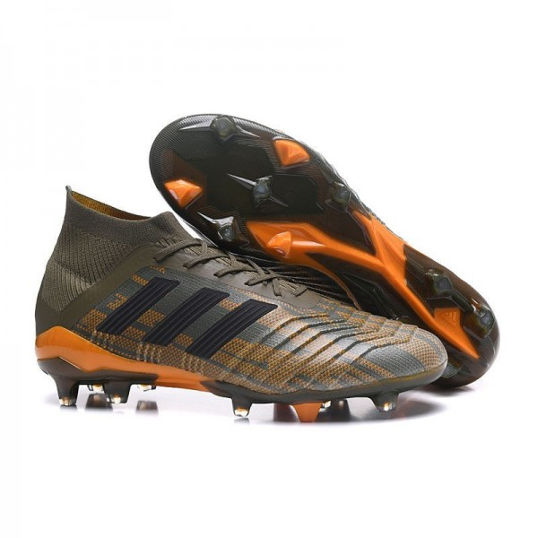 Men's Adidas Predator 18.1 FG Football Boots Olive Green Orange