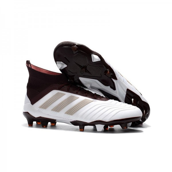 Men's Adidas Predator 18.1 FG Football Boots White Brown