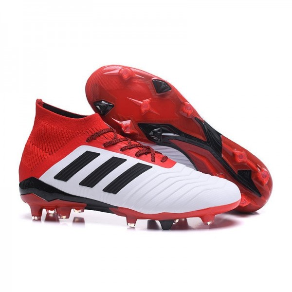 Men's Adidas Predator 18.1 FG Football Boots White Red Black