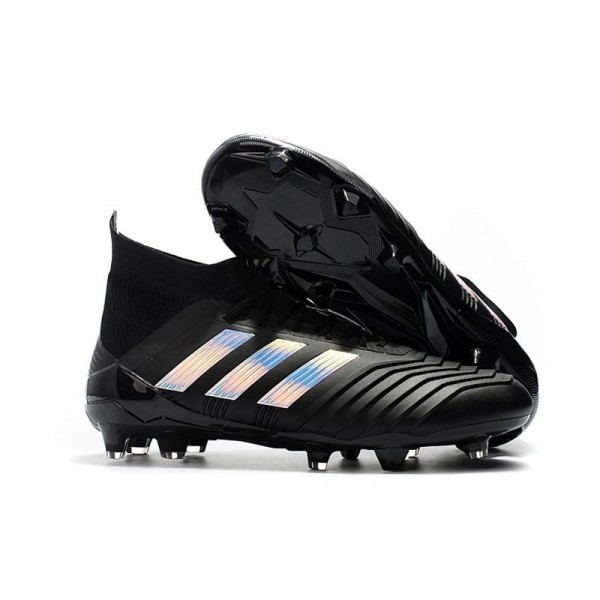 Men's Adidas 2018 Predator 18.1 FG Soccer Cleats Shoes In Black Silver