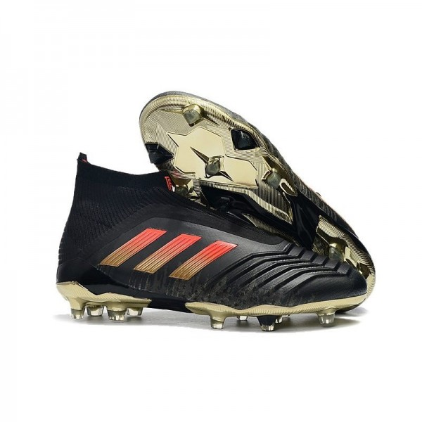 Men's Adidas Predator 18+ FG Firm Ground Boots Black Red Gold