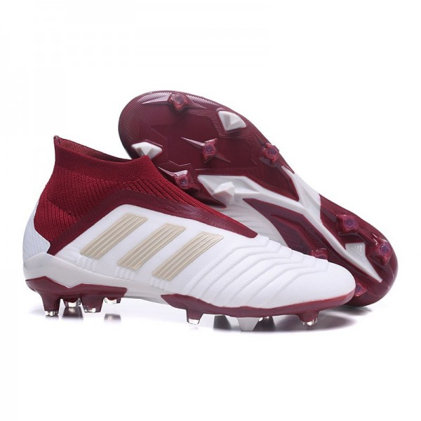 Men's Adidas Predator 18+ FG Firm Ground Boots White Red