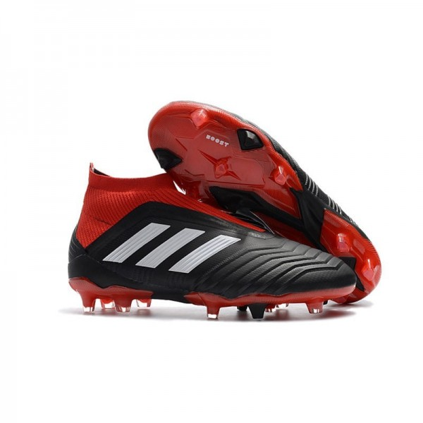 Men's Adidas Predator 18+ FG Soccer Cleats Shoes In Black Red White