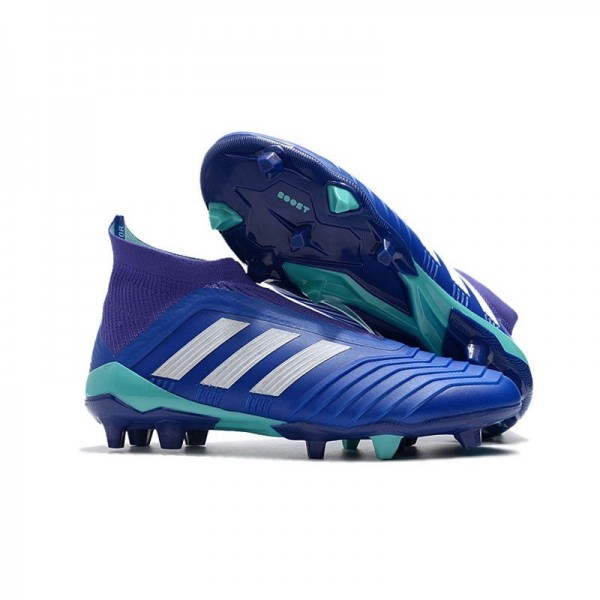 Men's Adidas Predator 18+ FG Soccer Cleats Shoes In Blue White