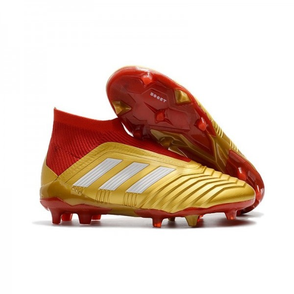 Men's Adidas Predator 18+ FG Soccer Cleats Shoes In Gold Red