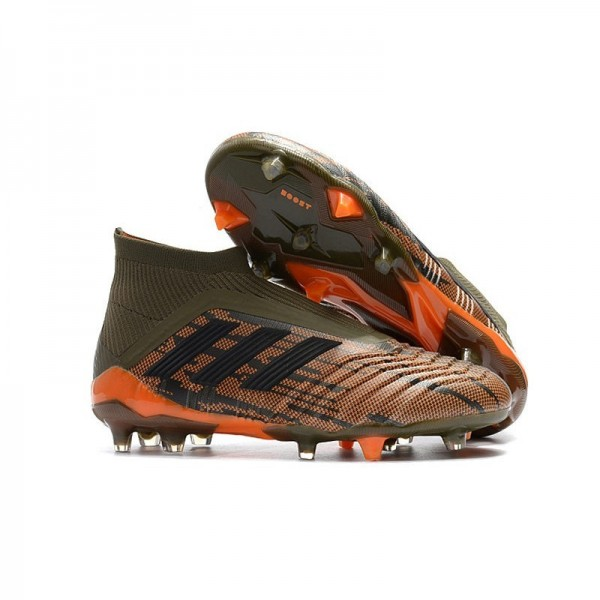 Men's Adidas Predator 18+ FG Soccer Cleats Shoes In Olive Black Orange
