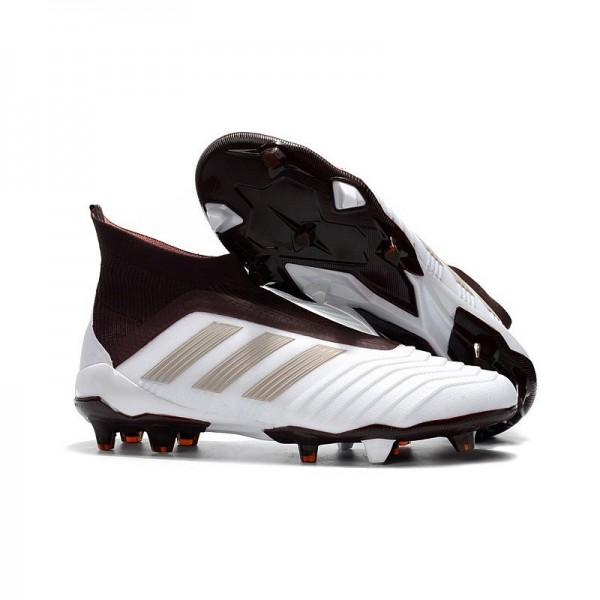 Men's Adidas Predator 18+ FG Soccer Cleats Shoes In White Brown