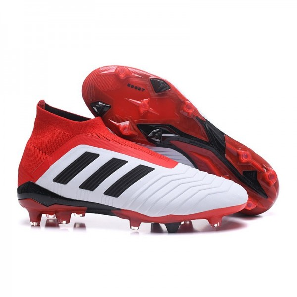Men's Adidas Predator 18+ FG Soccer Cleats Shoes In White Red Black