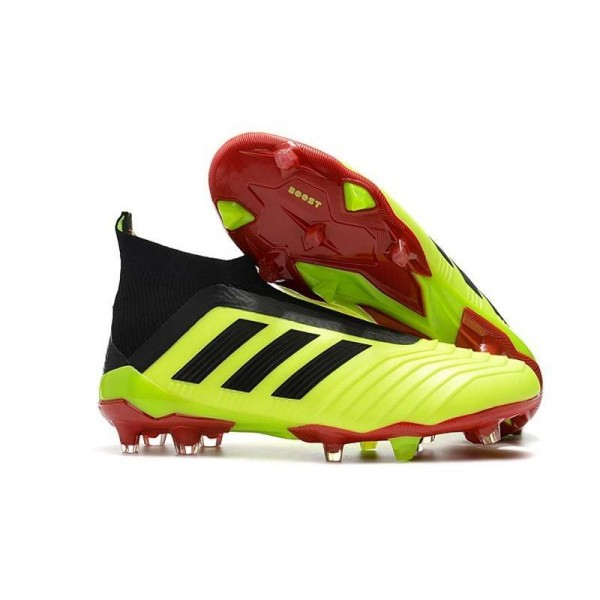 Men's Adidas Predator 18+ FG Soccer Cleats Shoes In Yellow Black