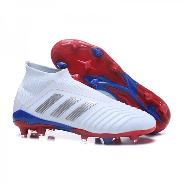 Men's Adidas Predator Telstar 18+ FG Firm Ground Boots White Silver Red