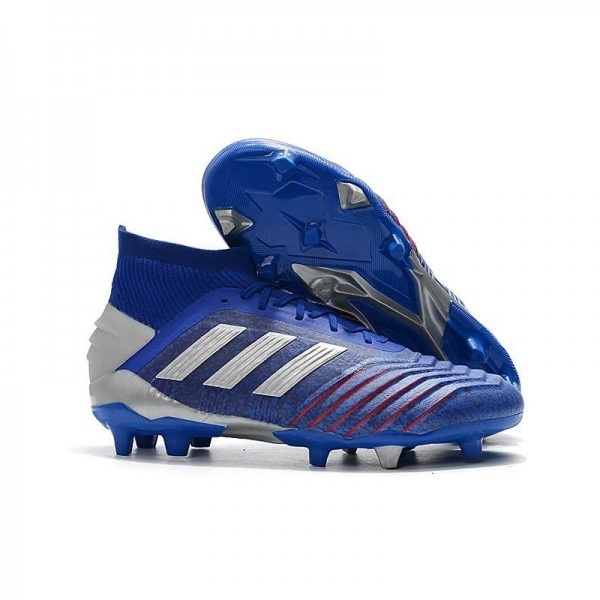Men's Adidas Predator 19.1 FG Firm Ground Boots Blue Silver
