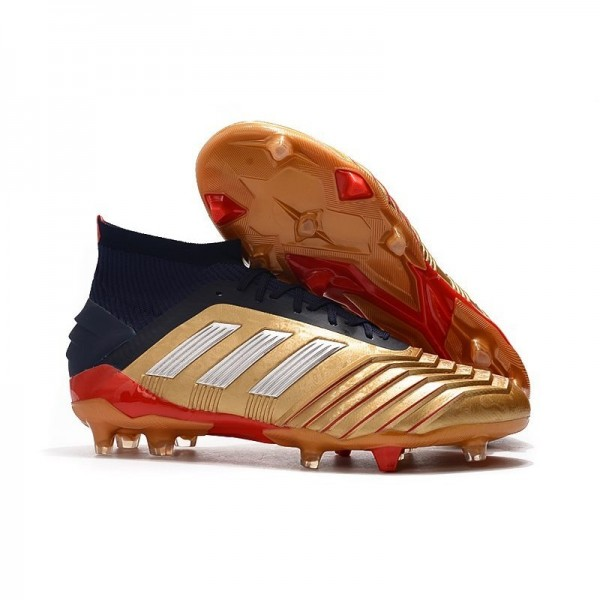 Men's Adidas Predator 19.1 FG Firm Ground Boots Gold Red Silver