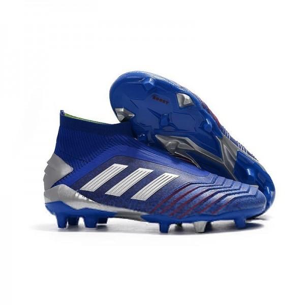 Men's Adidas Predator 19+ FG Soccer Boots Blue Silver