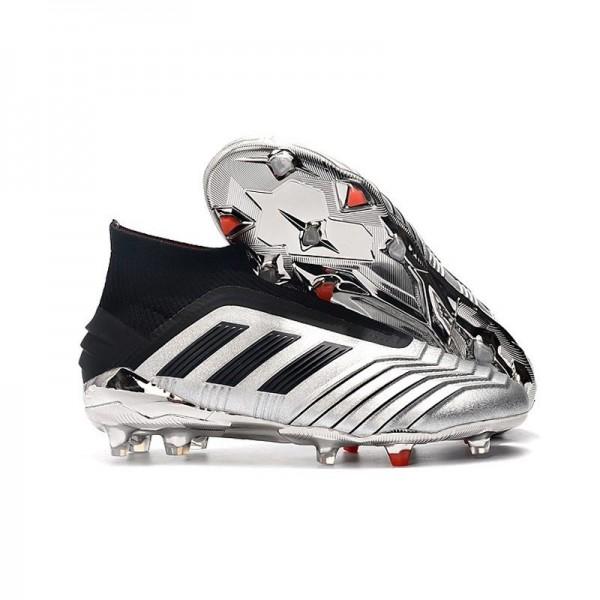 Men's Adidas Predator 19+ FG Soccer Boots Silver Black
