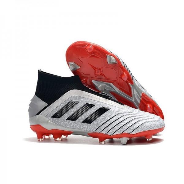 Men's Adidas Predator 19+ FG Soccer Boots Silver Black Red