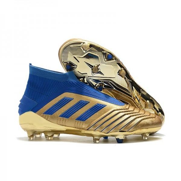 Men's Adidas Predator 19+ FG Firm Ground Shoes Gold Blue