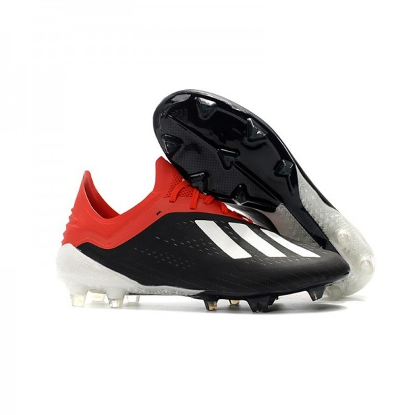 Men's Adidas X 18.1 FG Firm Ground Soccer Cleats Black White Red