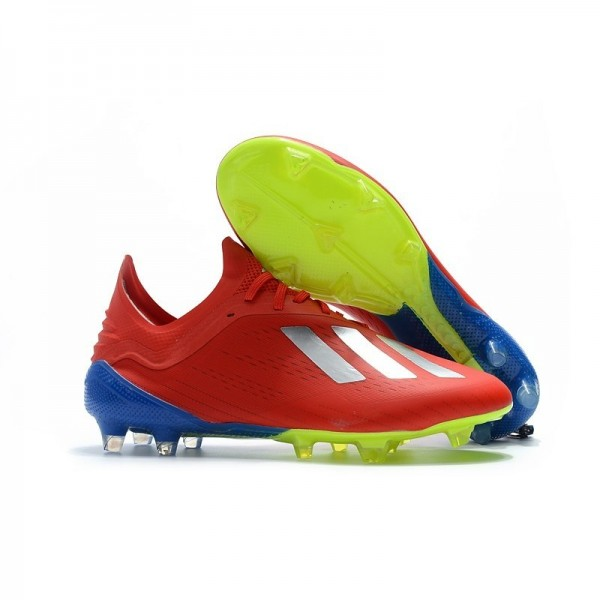Men's Adidas X 18.1 FG Firm Ground Soccer Cleats Red Silver