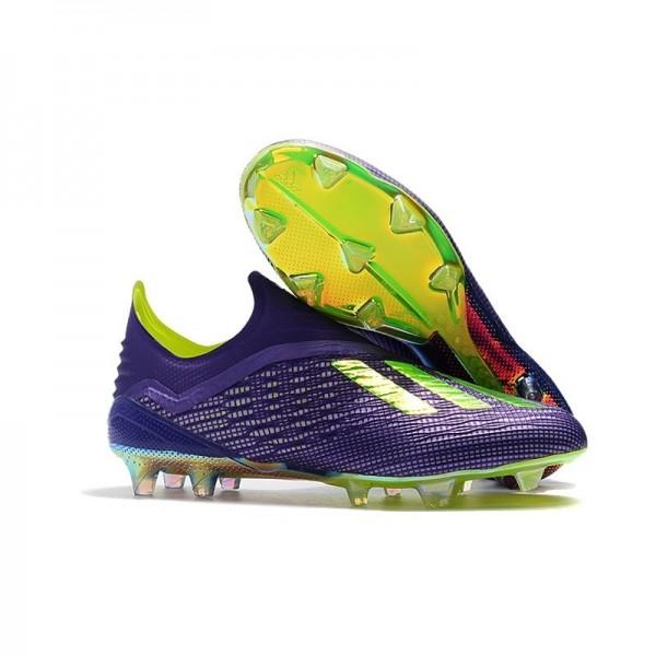 Men's Adidas X 18+ FG Firm Ground Cleats Purple Green