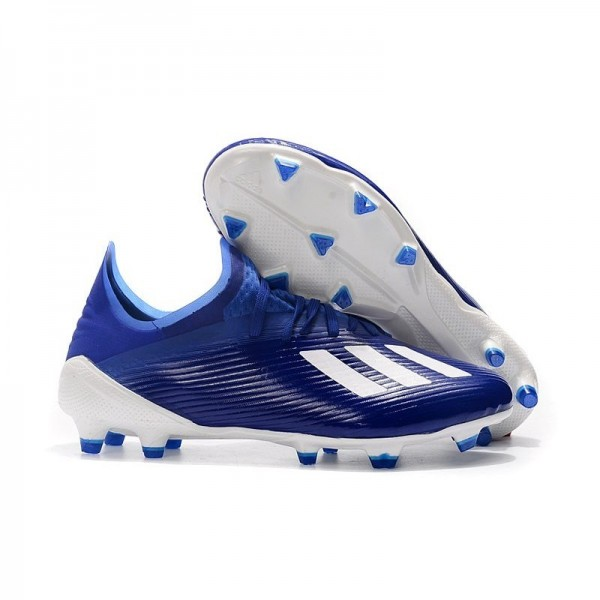 Men's Adidas X 19.1 FG Firm Ground Soccer Cleats Blue White