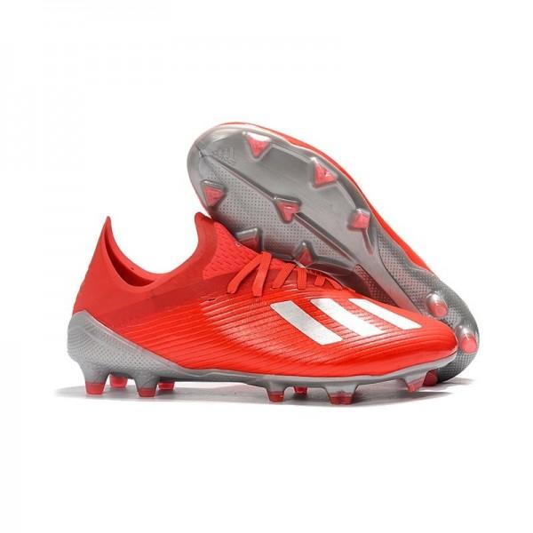Men's Adidas X 19.1 FG Firm Ground Soccer Cleats Crimson Silver