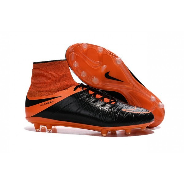 Men's Nike Soccer Cleats HyperVenom Phantom 2 FG Leather Black Total Orange