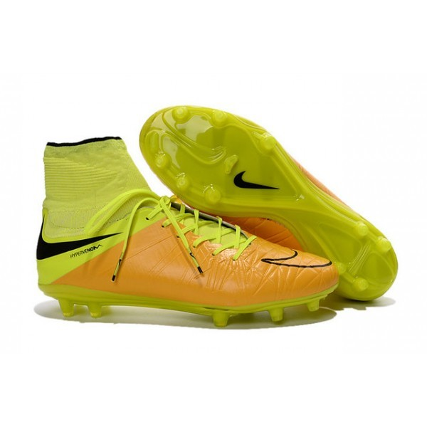 Men's Nike Soccer Cleats HyperVenom Phantom 2 FG Leather Canvas Black Volt