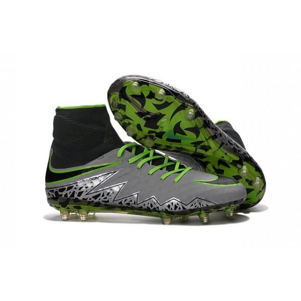Men's Nike Soccer Cleats HyperVenom Phantom 2 FG Pure Platinum Black Ghost Green