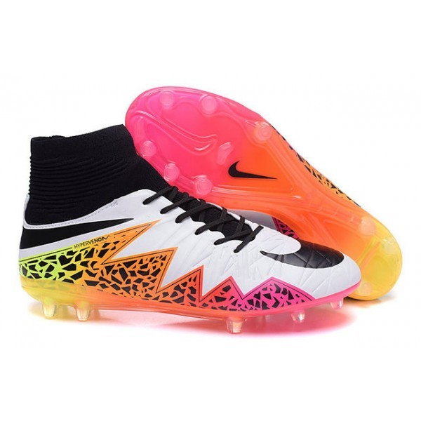 Men's Nike Soccer Cleats HyperVenom Phantom 2 FG White Orange Pink Black