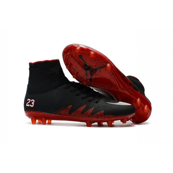 Men's Nike HyperVenom Phantom II FG Firm-Ground Soccer Cleats Jordan Black Red White