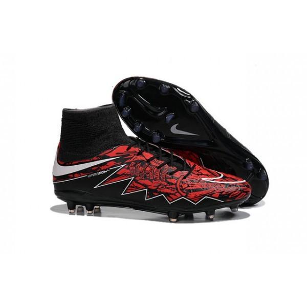 Men's Nike HyperVenom Phantom II FG Firm-Ground Soccer Cleats Robert Black White Red