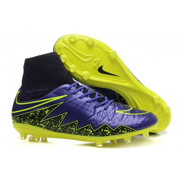 Men's Nike HyperVenom Phantom II FG Firm-Ground Soccer Cleats Violet Yellow Black