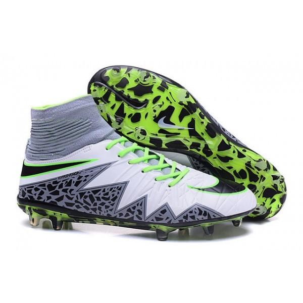 Men's Nike HyperVenom Phantom II FG Firm-Ground Soccer Cleats White Green Grey Black