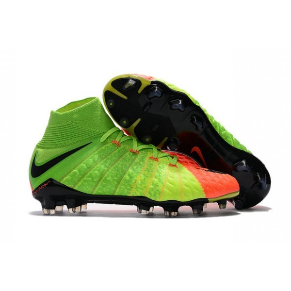 Men's Nike Hypervenom Phantom III DF FG Soccer Cleats Electric Green Black Hyper Orange
